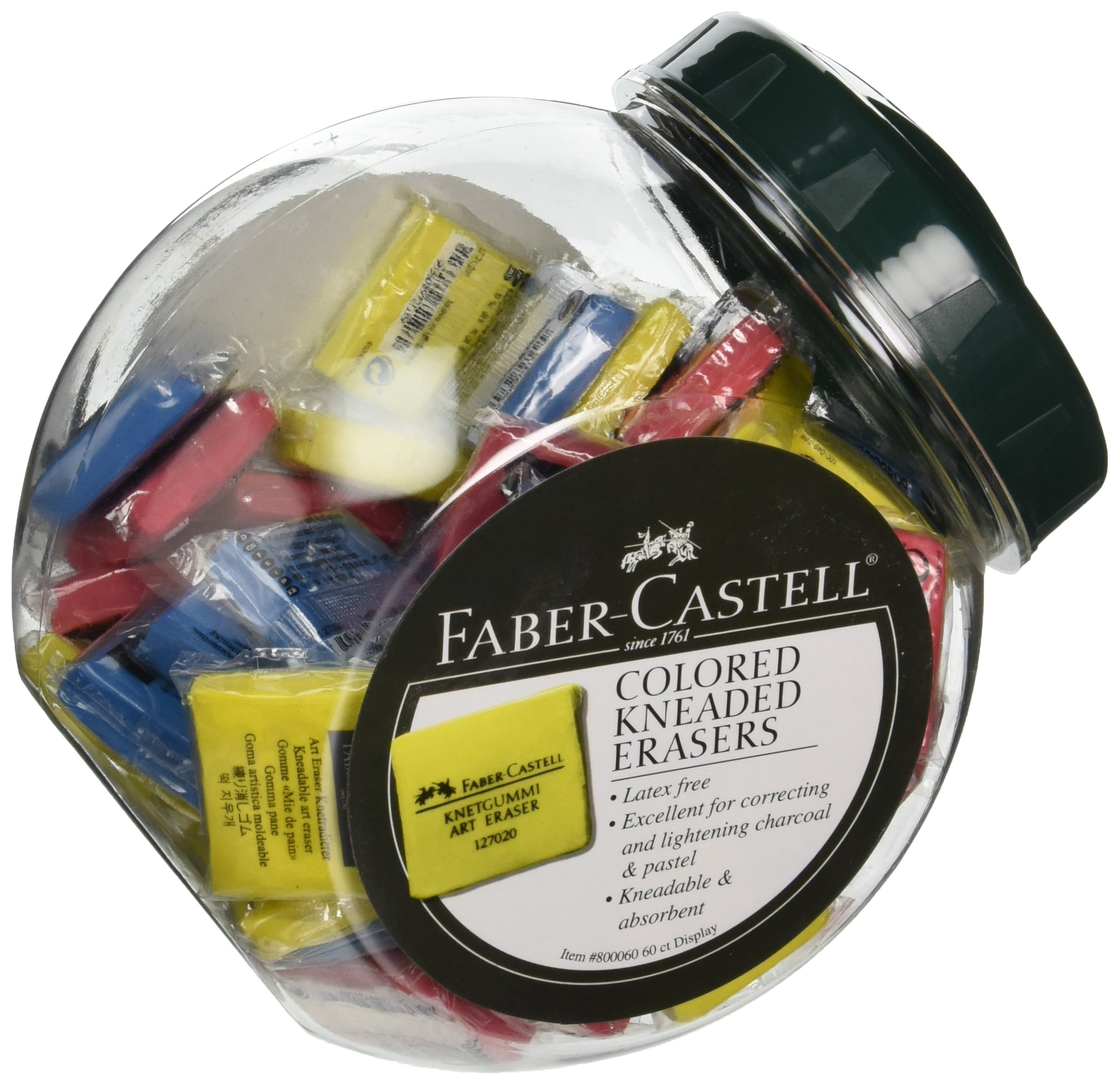Faber-Castell Display of 60 Color Kneaded Erasers - FC800060D