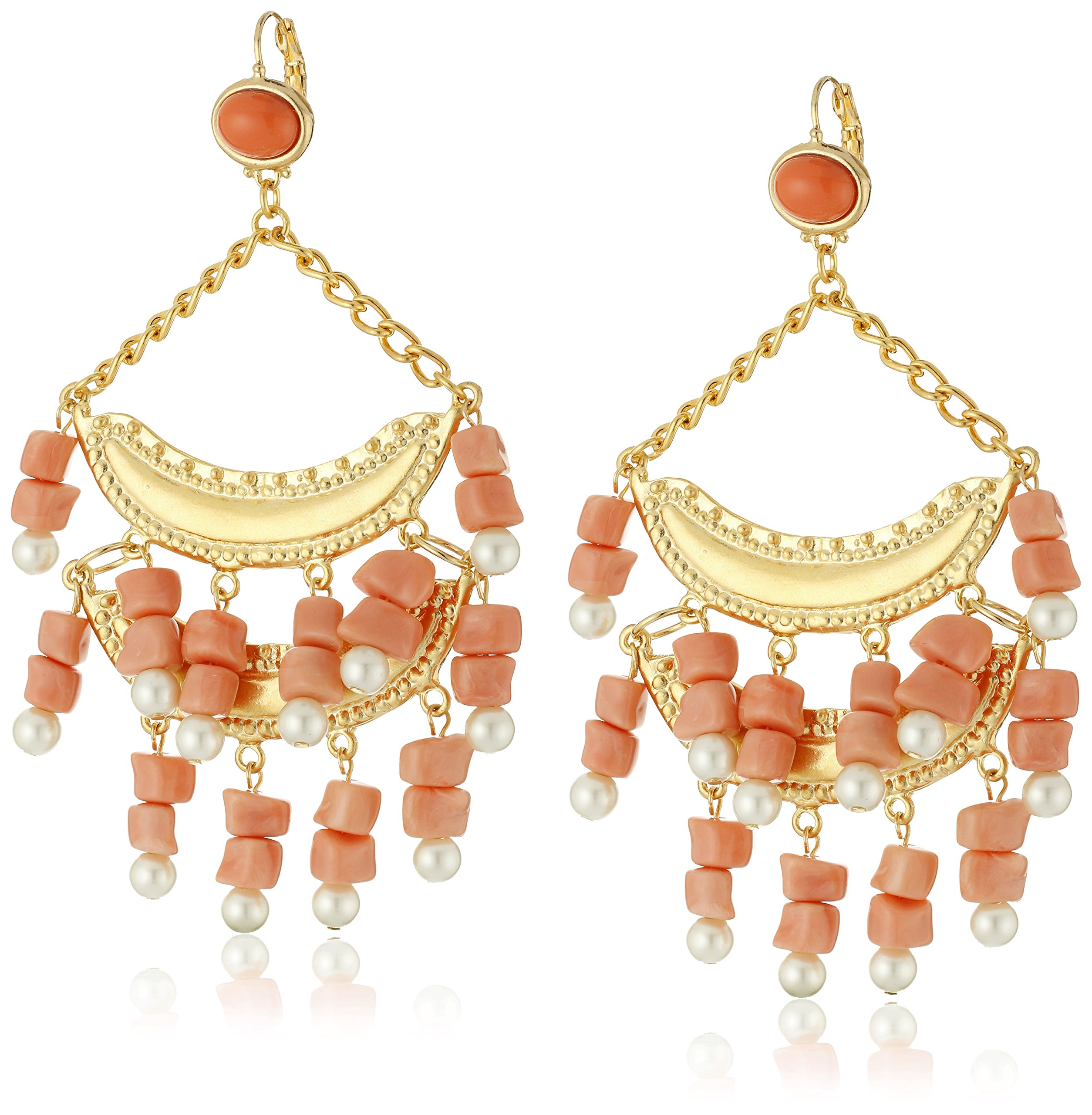 Kenneth Jay Lane 2 Tier Light Coral and Pearl Wire Top Drop Earrings by Kenneth Jay Lane (Image #1)