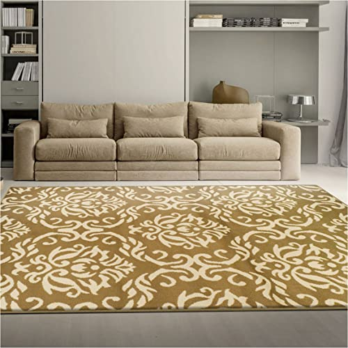Superior Fleur de Lis Collection, Elegant Scrolling Damask Pattern, 10mm Pile with Jute Backing, Affordable Contemporary Area Rugs – Gold, 2 x 3 Rug