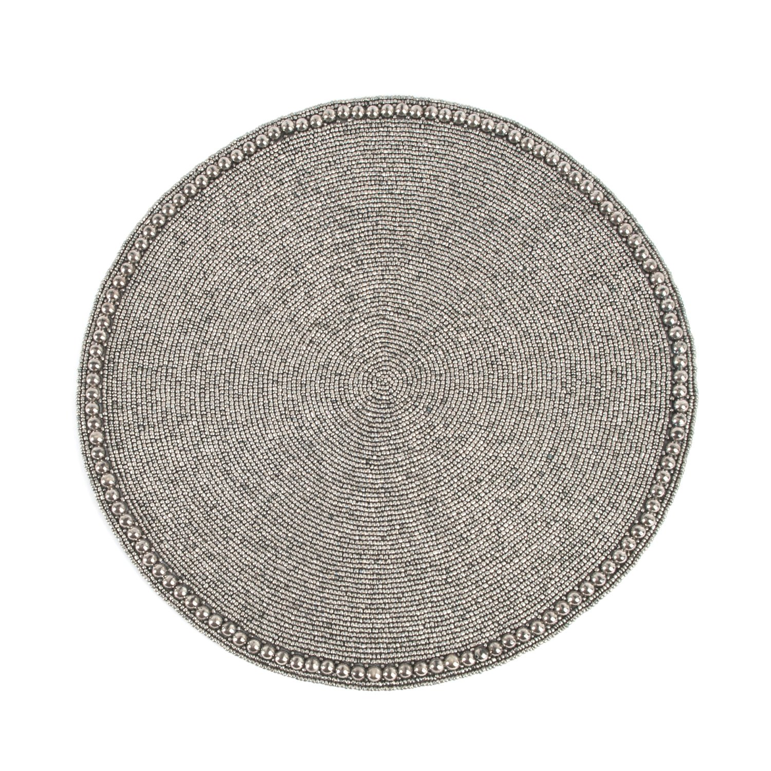 Pewter Color Glass Beaded Placemat 15'' Round , (4 Piece Set)