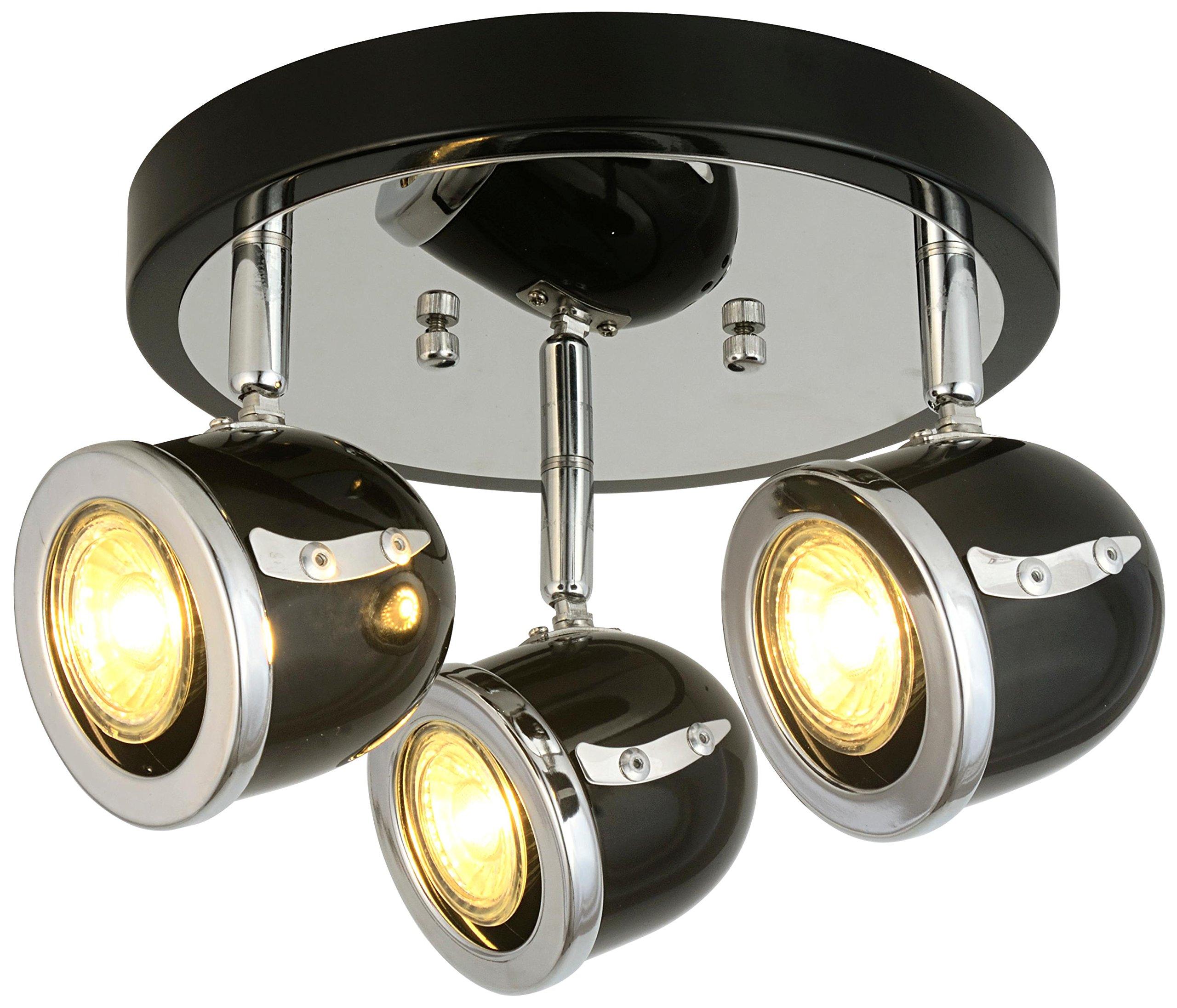 LED Retro Adjustable Eyeball Black &Chrome Ceiling Spotlight (Black & Chrome, 3 Lights Ceiling)