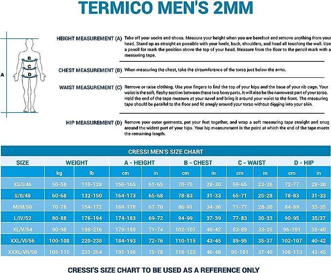 Cressi TERMICO MAN quality since 1946 Cressi 2mm Premium Neoprene Thermal Swimsuit for Men