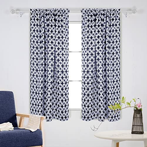 Deconovo Floral Print Darkening-Rod Pocket Curtains Blackout Panels for Kids Room, 42×63 Inch, Navy Blue