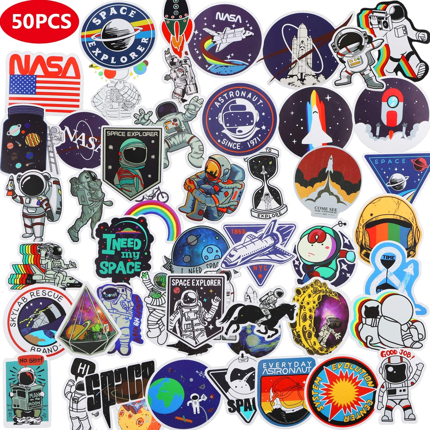 CHANSBO NASA Space Explorer (50 Pack), Waterproof Vinyl VSCO Stickers Cartoon Anime Stickers Astronaut Spaceman Spacecraft Universe Decals for Laptop Skateboard Water Bottles Hydro Flask Luggage