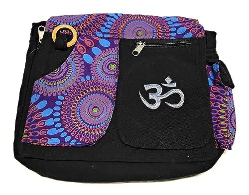 c13dd9c3a5 Sac à Bandoulière,Sac Hippie, Ethnique,en coton et cuir Pour Femme Indien