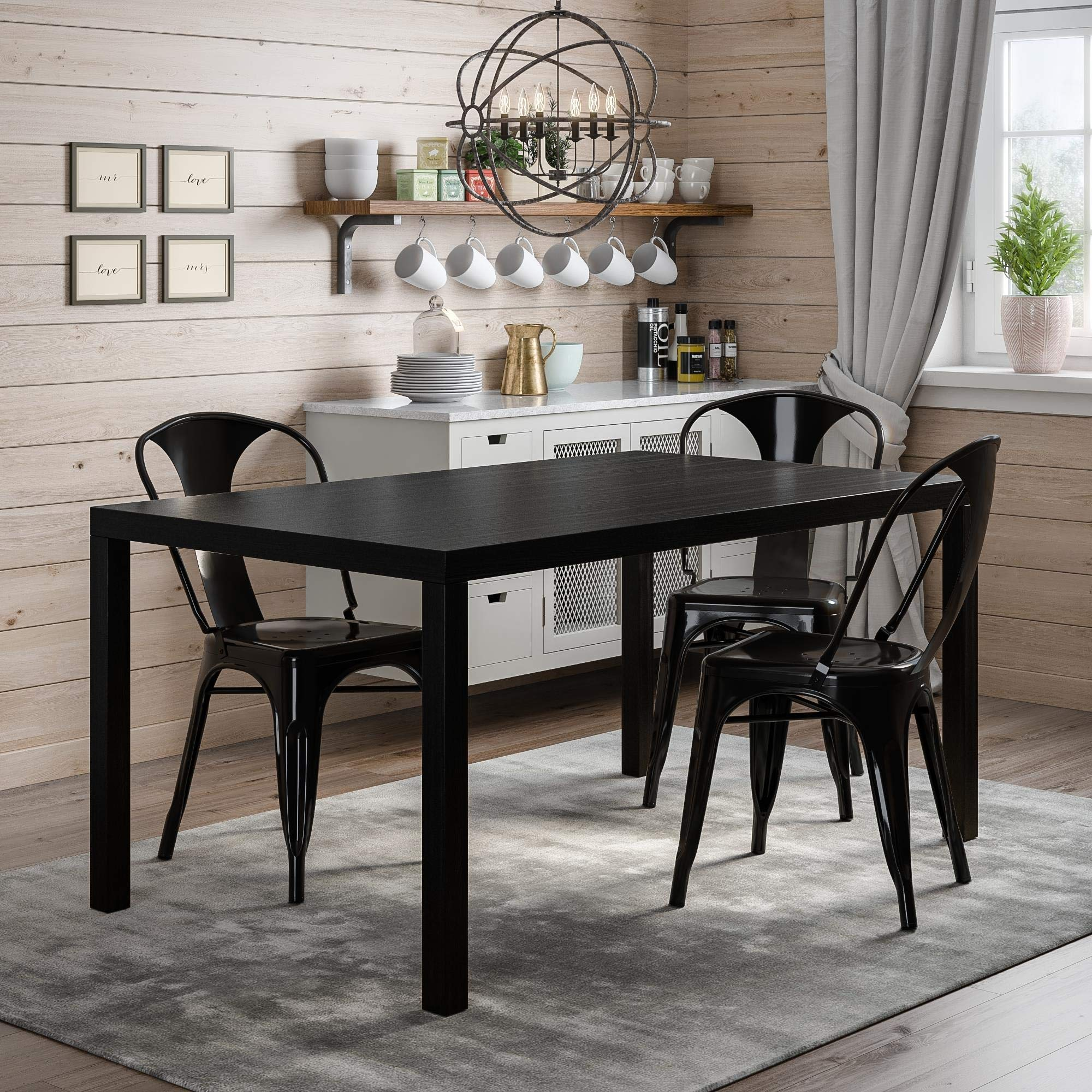 Novogratz Memphis Rectangular Dining Table, Black