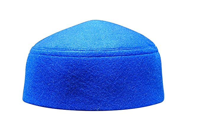 34b3c509a Solid Blue Moroccan Fez-Style Kufi Hat Cap w/Pointed Top