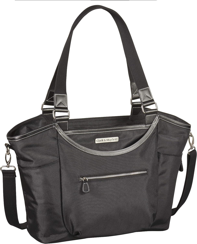 """Clark & Mayfield Women's Bellevue Laptop Handbag Tote Bag 18.4"""" - Black"""