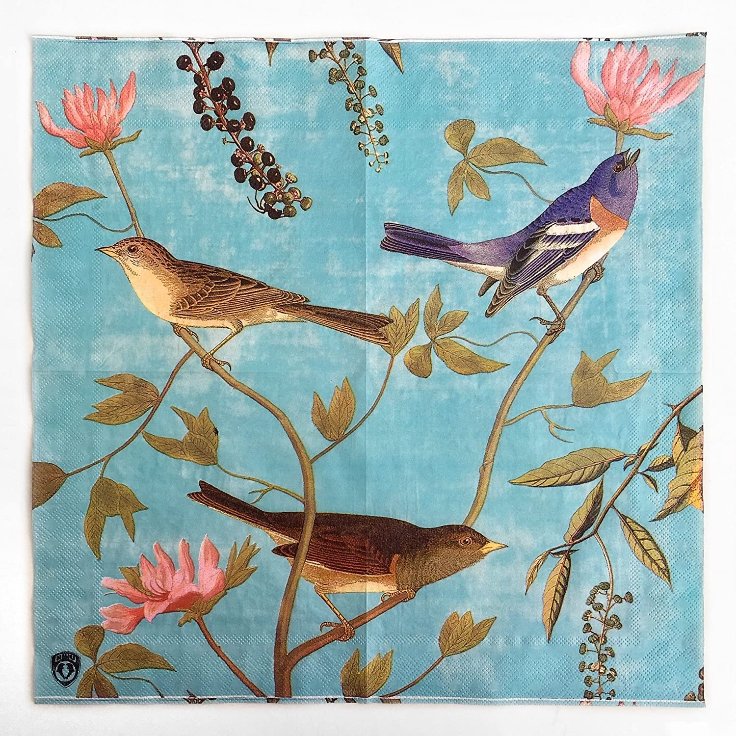 Colored Paper Napkins, 20 Count Shabby Chic Napkins for Wedding, Dinner Tea Party Shower (Floral Birds Retro Vine)