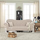 Classic Chesterfield Tufted Linen Fabric Victorian Sofa with Scroll Arms (Beige)