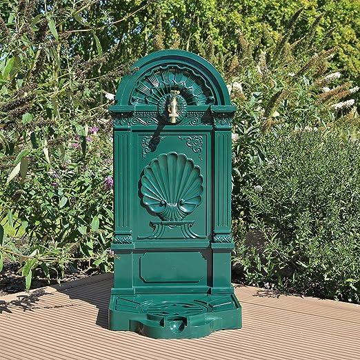 CLGarden WZS5 Soporte de aluminio fundido bien, con grifo de latón, Fuente de diseño de jardín verde: Amazon.es: Jardín