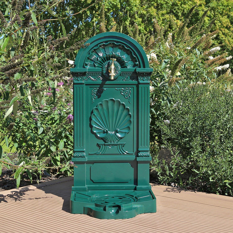 CLGarden WZS5 Soporte de aluminio fundido bien verde, con grifo, Fuente de diseñ o de jardí n Fuente de diseño de jardín