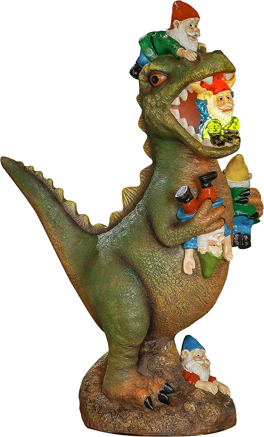 TERESA'S COLLECTIONS Large Garden Gnome Statues Massacre, Solar Powered Dinosaur Eating Gnomes Statue , Funny Garden Sculpture for Outdoor Home Yard Decor, 8 Inch Tall