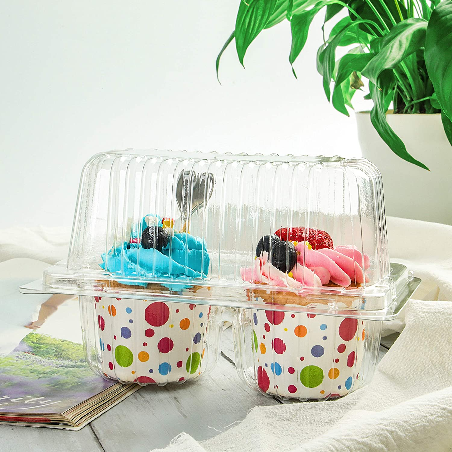 Cupcake Container Double Holder Plastic Containers Disposable Clear Carrier for Cupcakes to go Box Jumbo Domes Large Cup Cake Clamshell Packaging togo (Pack of 30)