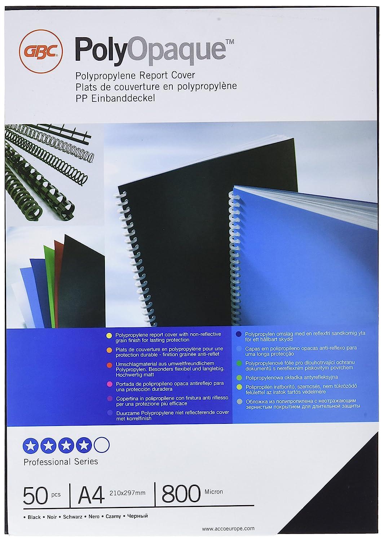 Gbc SP425804 - Pack de 50 portadas de polipropileno, A4, color negro: Amazon.es: Oficina y papelería