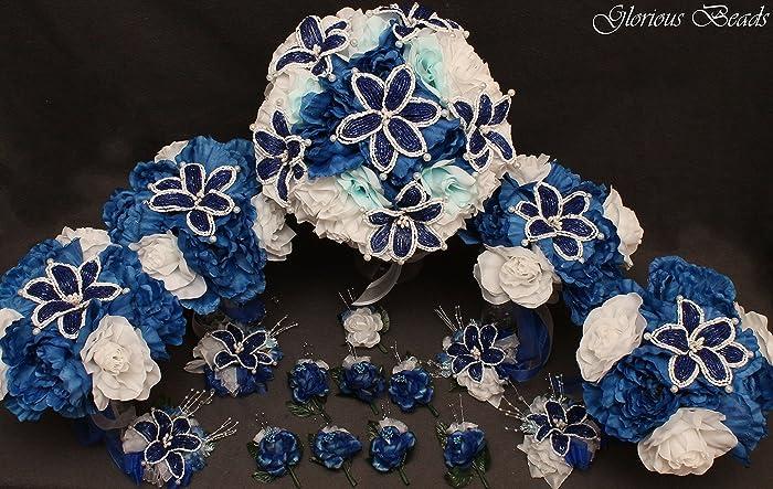 Amazon.com: Royal Blue and White Beaded Lily Bridal Wedding Flower ...