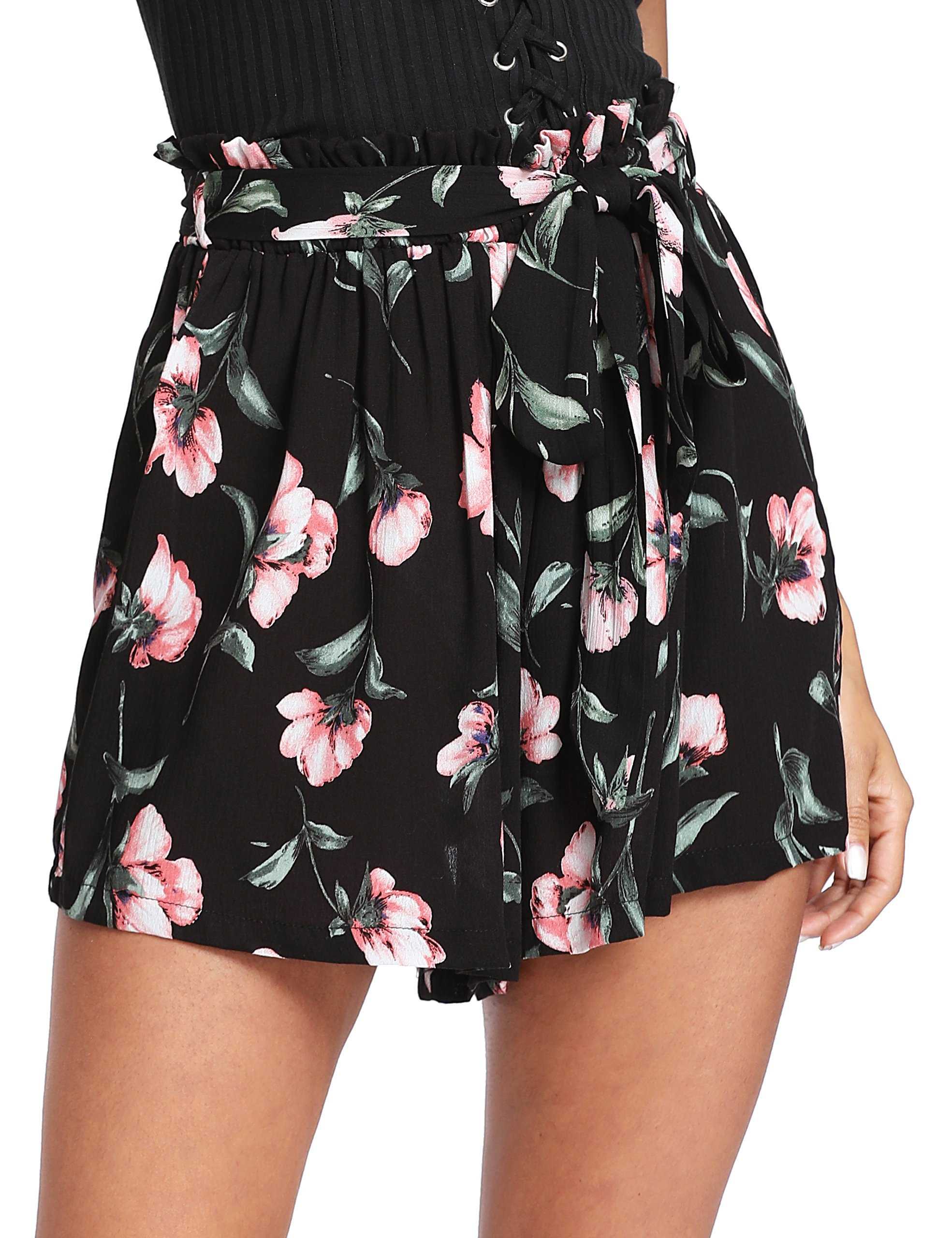 Floerns Women's Tie Bow Floral Print Summer Beach Elastic Shorts Black M