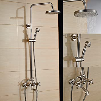 rozin brushed nickel bath shower faucet set tub mixer tap 8inch rain shower head