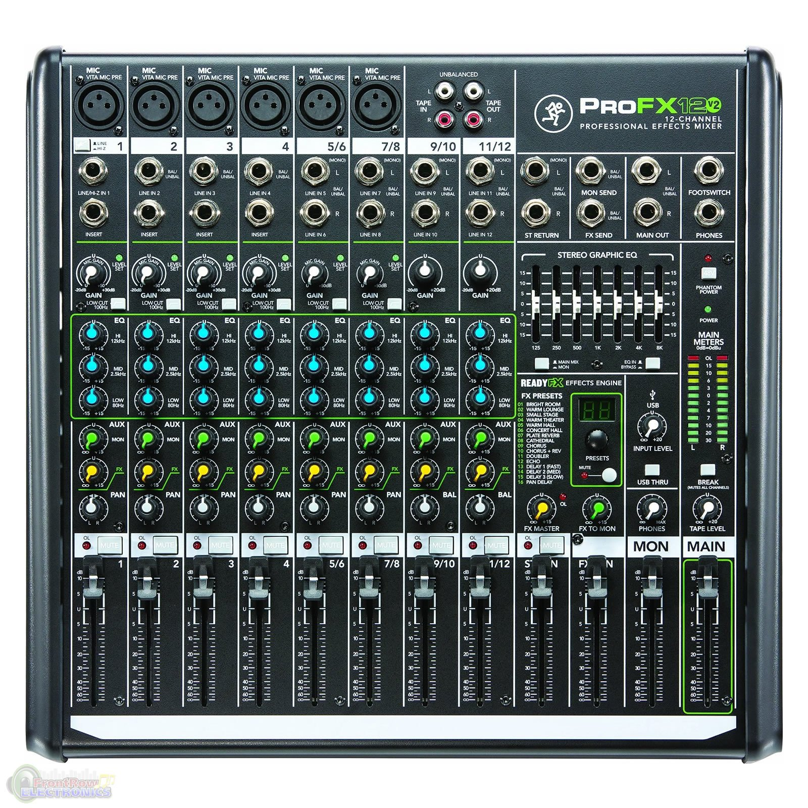 Mackie ProFX12v2 12-Channel Professional Effects Mixer with USB and 1 Year Free Extended Warranty by Mackie