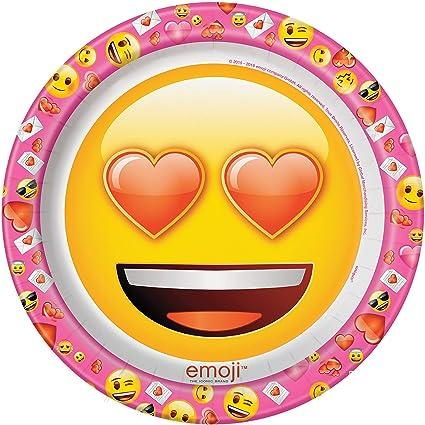 Amazon Com Valentine S Day Emoji Dinner Plates 8ct Toys Games
