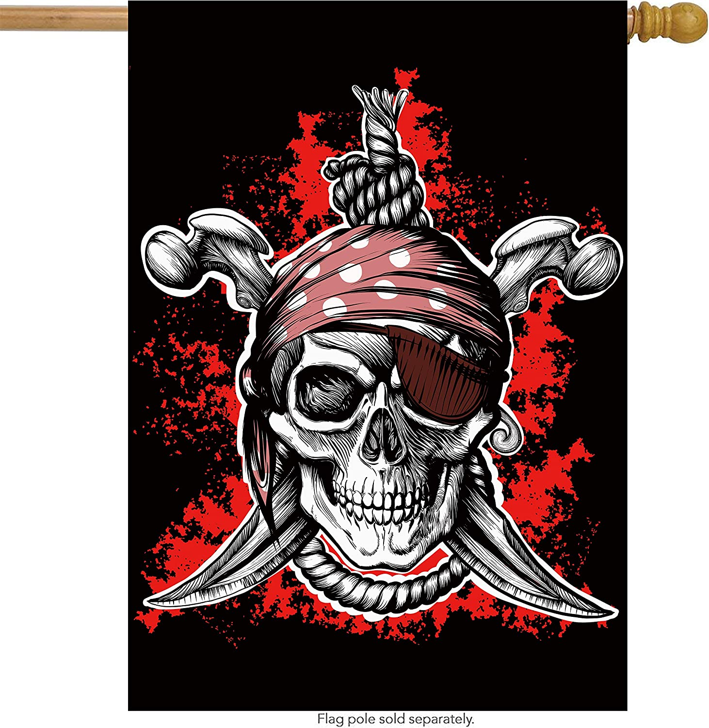 "ShineSnow Pirate Jolly Roger Skull House Flag 28"" x 40"" Double Sided, Polyester Crossed Sword Sabres Skeleton Welcome Yard Garden Flag Banners for Patio Lawn Home Outdoor Decor"