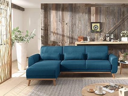 en soldes c103d e9b5f Bestmobilier - Vera - Canapé d'angle réversible Convertible au Style  scandinave en Tissu - 256x88x149cm