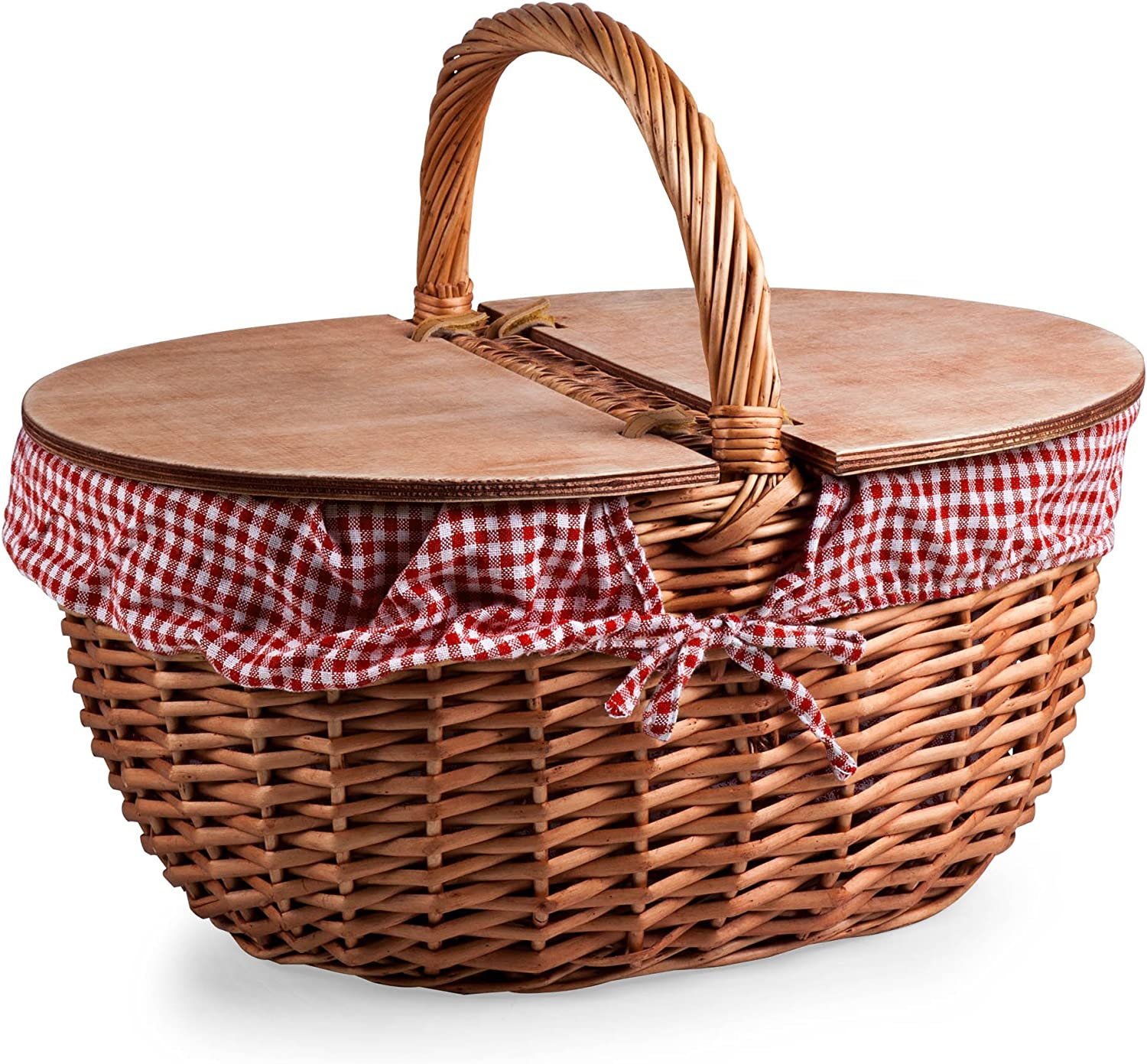 Amazon Com Picnic Time Country Picnic Basket With Liner Red White Gingham Kitchen Dining
