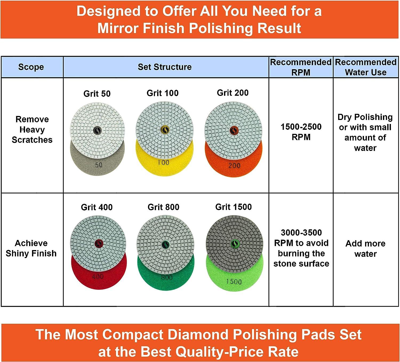Diamond Polishing Pads 4 Inch Wet Dry Set 7 Pieces for Concrete Marble Quartz Stone Countertop Granite Polishing - by POLISHSURF - -