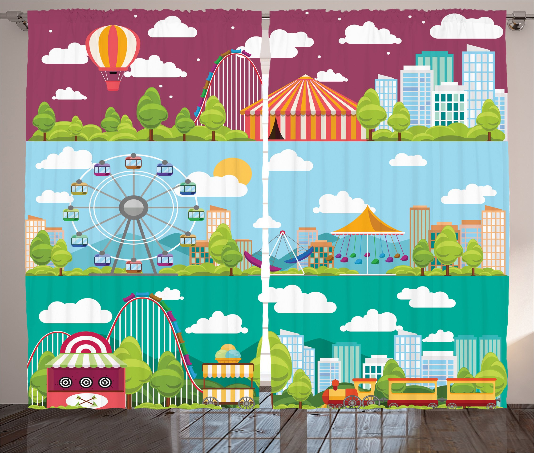 Ambesonne Circus Decor Curtains, Conceptual City Banners with Carousels Slides and Swings Ferris Wheel Attraction, Window Treatments for Kids Girls Boys Bedroom 2 Panels Set, 108X63 inches