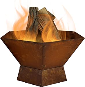 Sunnydaze Rustic Affinity Raised Outdoor Fire Pit Kit - 23-Inch Oxidized Hexagon-Shaped Steel Outdoor Wood-Burning Lawn and Backyard Bonfire Fireplace