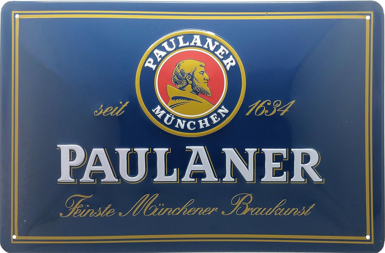 Paulaner Placa metálica, Escudo de Múnich, Logotipo Nostalgic Retro Metal Placa, 20 x 30 cm
