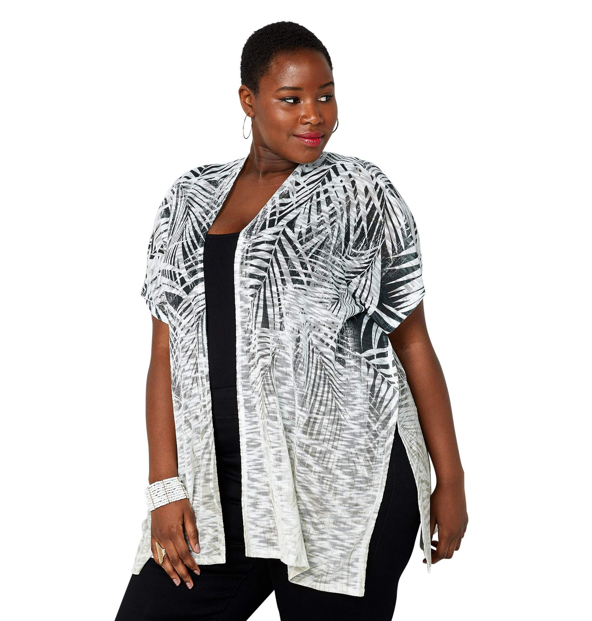 AVENUE Women's Distressed Palm Tree Print Hacci Kimono, 26/28 Off White