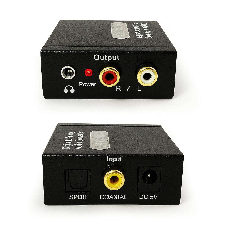 Incutex - Convertitore Audio da Digitale (Toslink e coassiale) ad analogico (Cinch) - con Alimentatore SPDIF, RCA o Digitale Ottico TOSLINK #6282-ITA