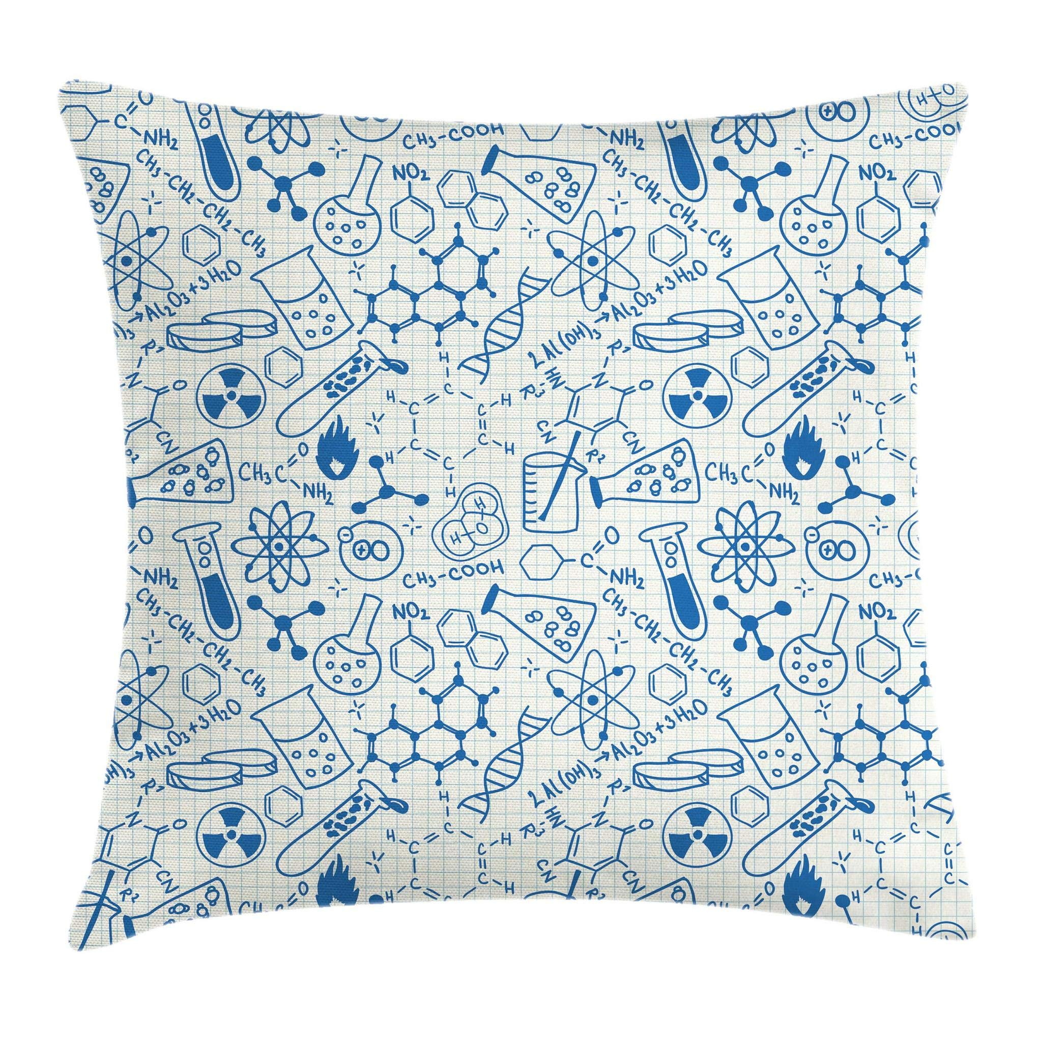 Ambesonne Children Throw Pillow Cushion Cover, Science Chemistry Geometry Math Nerd Geek and Genius Themed Design Artwork, Decorative Square Accent Pillow Case, 16'' X 16'', Ivory Blue by Ambesonne