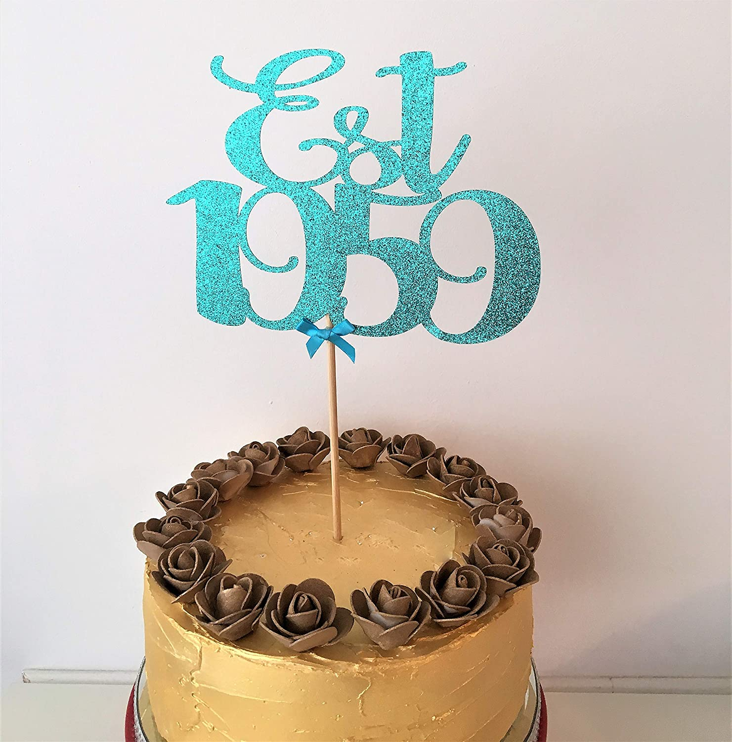 Est 1959 Cake Topper Established Centrepiece 60th Birthday Decor 60 Years Old Sixty Decorations Sixtieth Amazoncouk Handmade