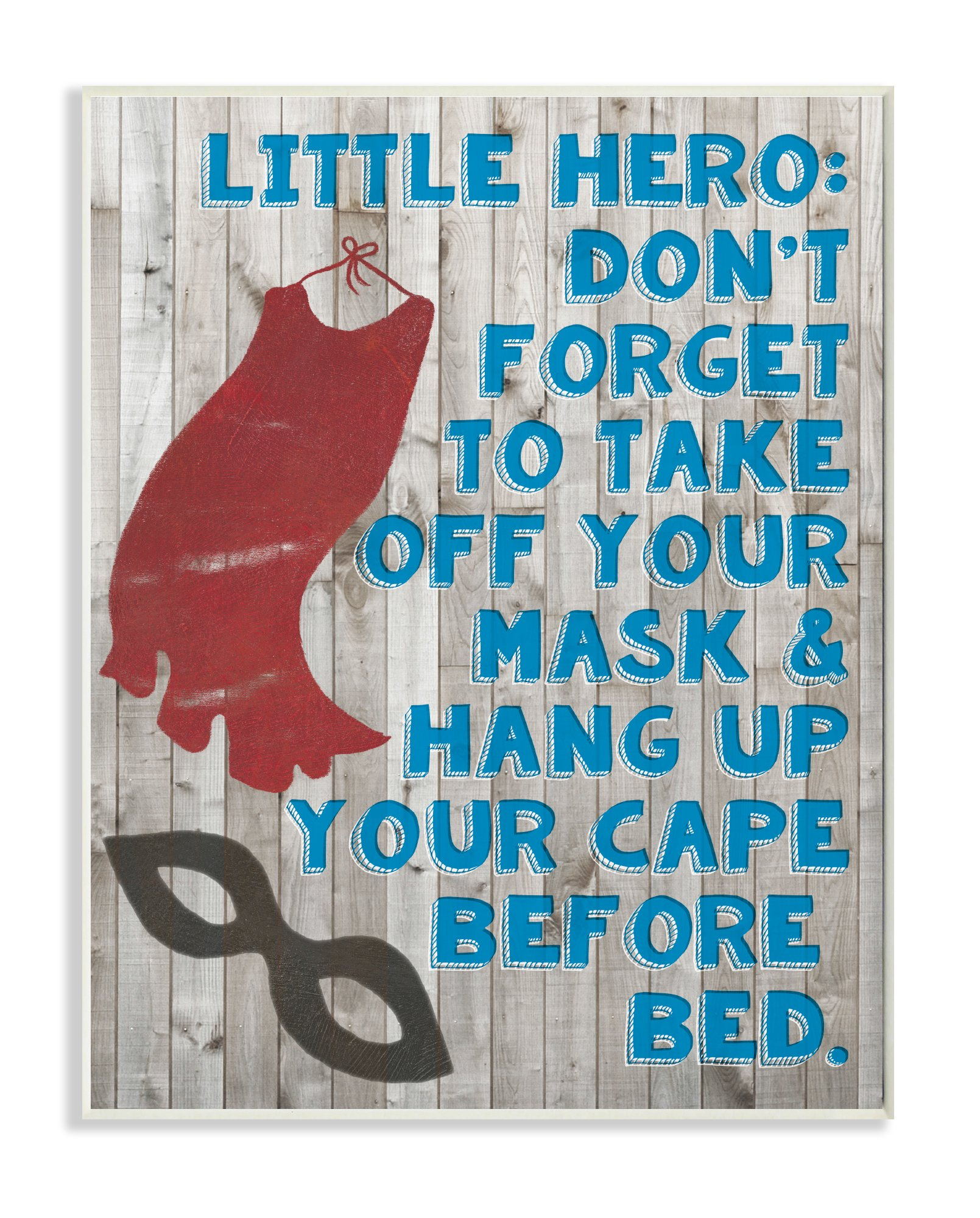 Stupell Home Décor Little Hero Before Bed Wall Plaque Art, 10 x 0.5 x 15, Proudly Made in USA