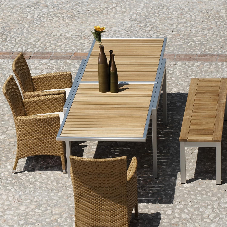 Giga Tisch ausziehbar - Gestell Aluminium/ Platte Teak / 140 (280) x 90 cm