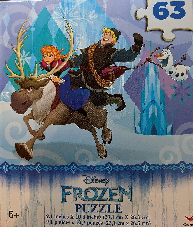 "DISNEY FROZEN PUZZLE 63 PIECES 9.1/"" X 10.3/"" ANNA KRISTOFF SVEN /& OLAF NEW KIDS!"