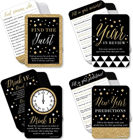 Big Dot of Happiness New Year's Eve - Gold - 4 New Years Eve Party Games - 10 Cards Each - Year in Review, Find the Guest, Drink If, New Year Predictions - Gamerific Bundle