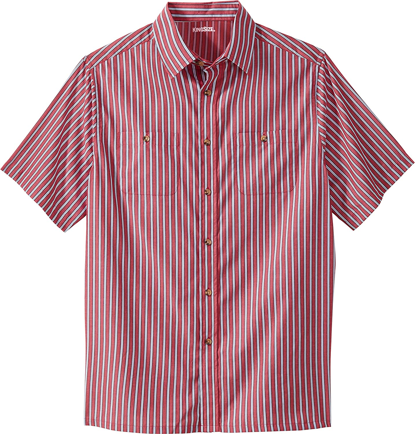 KingSize Mens Big /& Tall Striped Short-Sleeve Sport Shirt