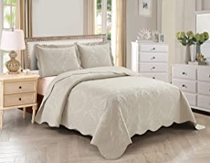 Home Collection 3pc King/Cal King Over Size Elegant Embossed Bedspread Set Light Weight Solid Beige New