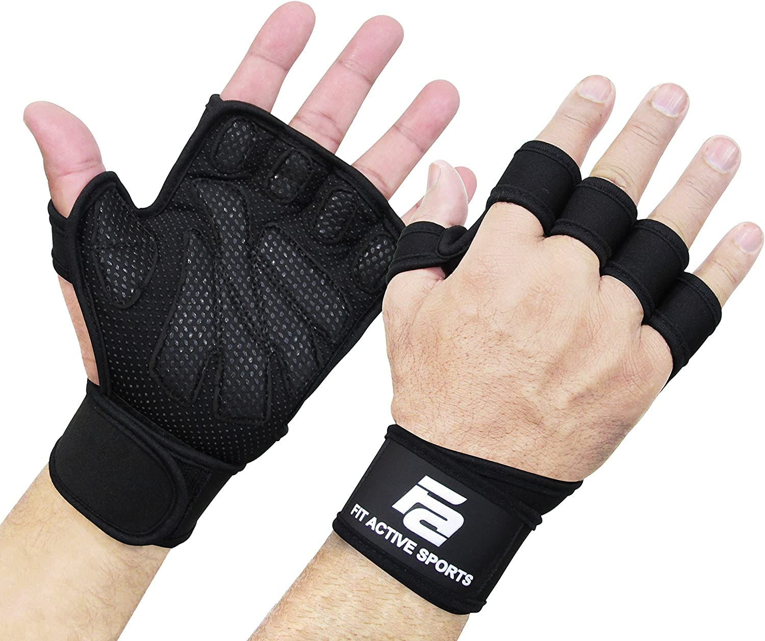 New Ventilated Weight Lifting Gloves with Built-In Wrist Wraps, Full Palm Protection & Extra Grip. Great for Pull Ups, Cross Training, Fitness, WODs & Weightlifting. Suits Men & Women : Sports & Outdoors