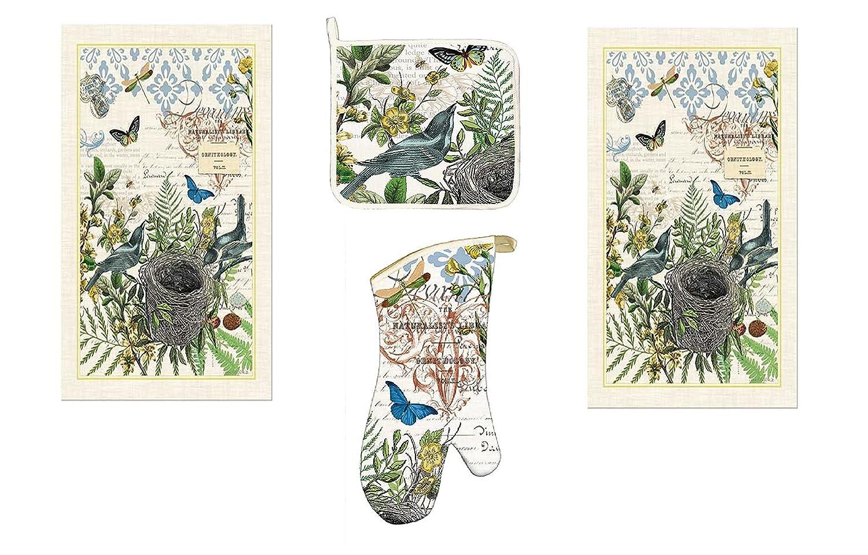 Michel Design Works 4 Piece Into The Woods Birds and Butterflies Kitchen Set - 2 Towels, Oven Mitt, Potholder