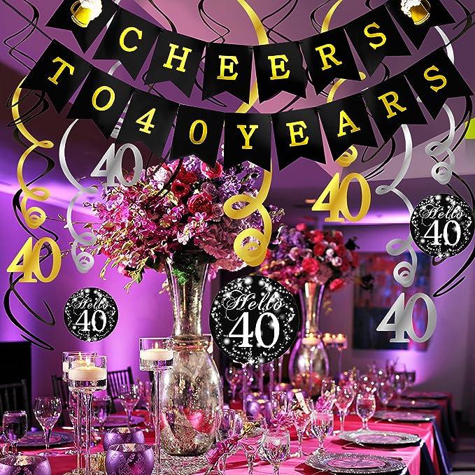 Amazon.com: Kit de decoración para 40 cumpleaños, Konsait ...