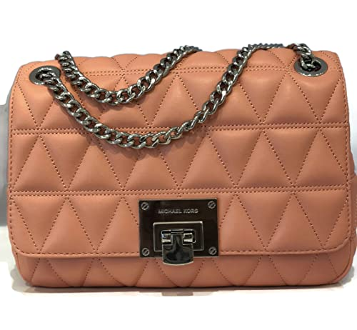 e560f6a71258 MICHAEL Michael Kors Vivianne Quilted Soft Leather Large Shoulder Flap Bag  - Peach: Amazon.ca: Shoes & Handbags