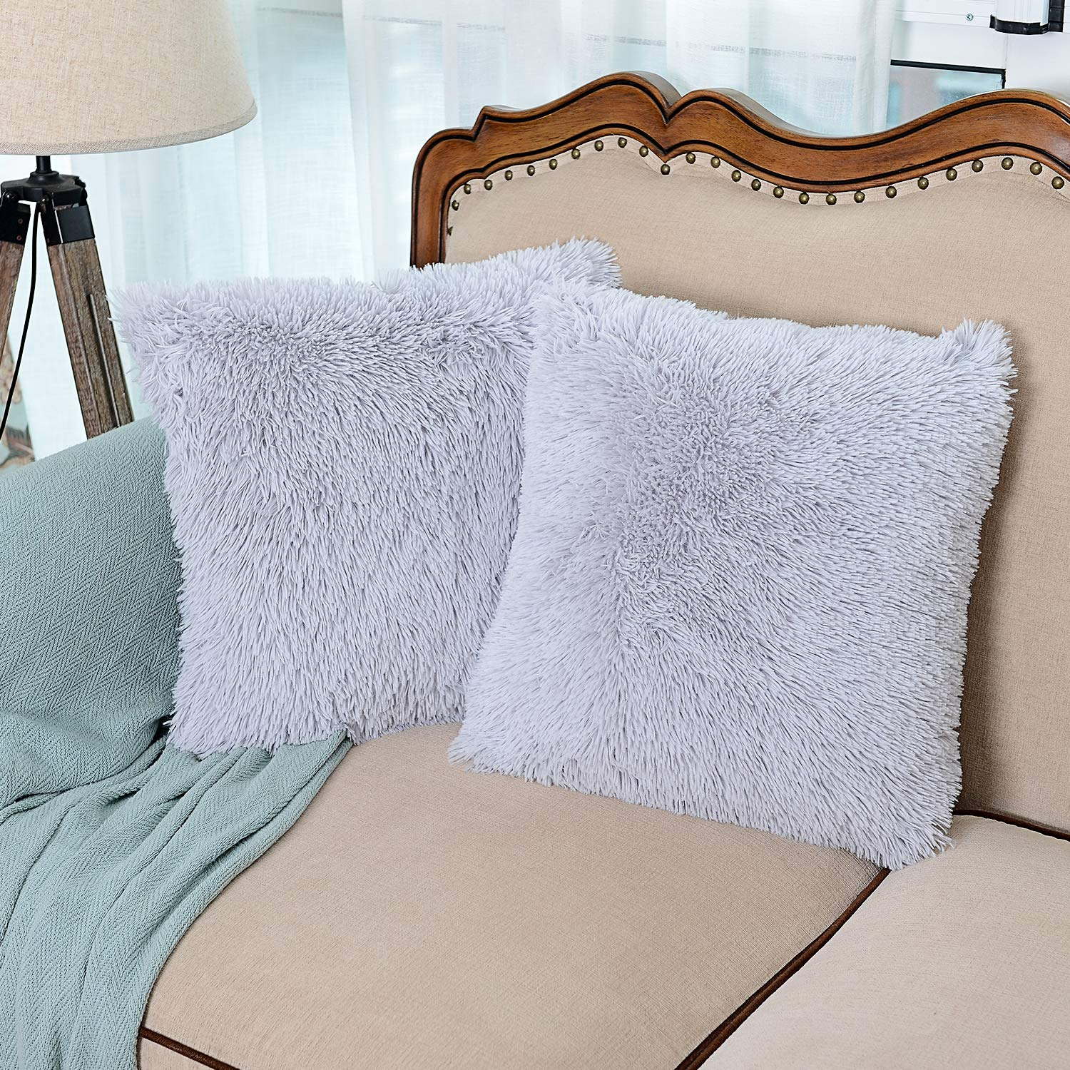 NordECO HOME Luxury Soft Faux Fur Fleece Cushion Cover Pillowcase Decorative Throw Pillows Covers, No Pillow Insert, 18'' x 18'' Inch, Light Grey, 2 Pack