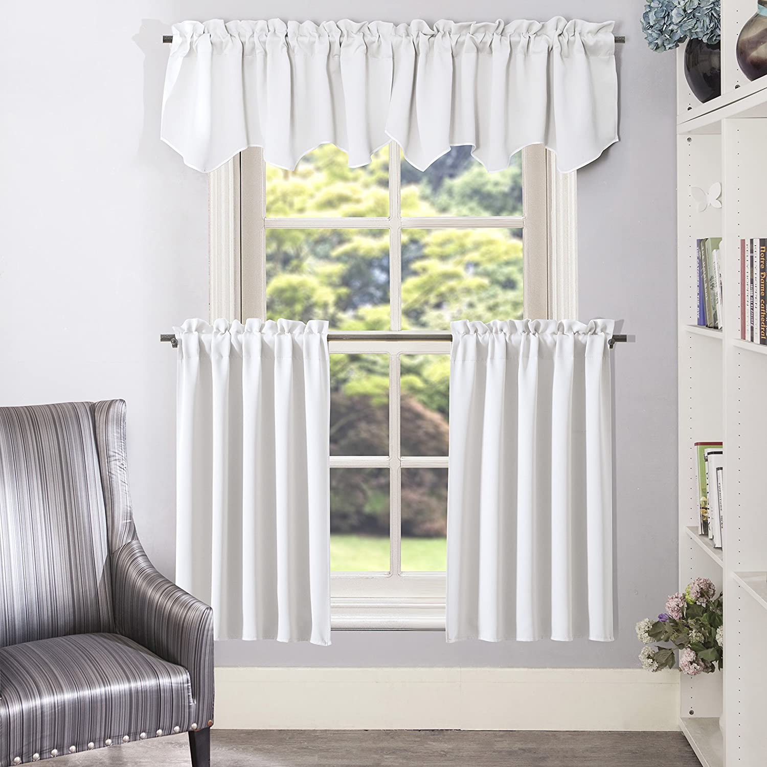Greyish White Curtain Tier/ Valance Greyish White