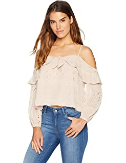 f289678bb9a51 ASTR the label Women s Kimberly Cold Shoulder Tie Front Long Sleeve Eyelet  Ruffle Top