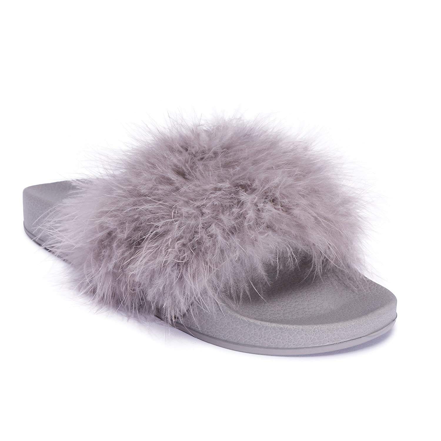 7c2ccdca972 Womens Ladies Grey Faux Fur Feather Marabou Slip On Fluffy Mules Sliders  Slippers