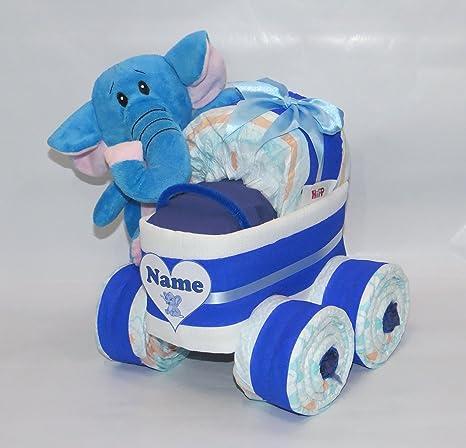 Pañales Pañales para tartas – Cochecito XL de neumáticos elefante azul